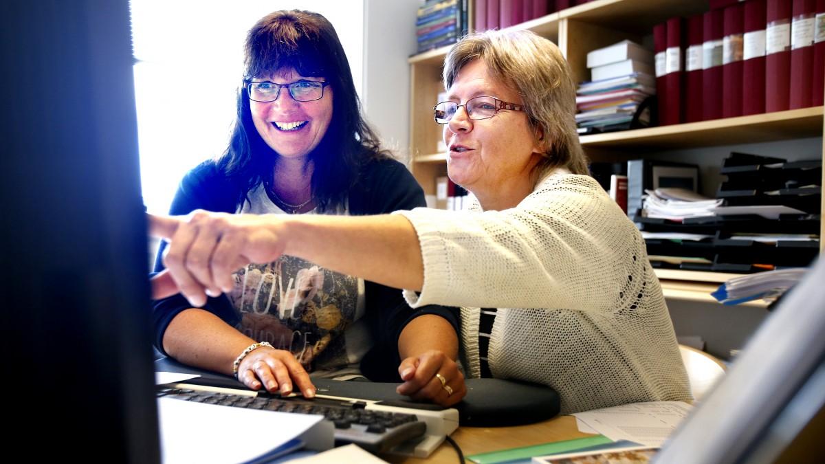 Kollegor tittar på datorskärm